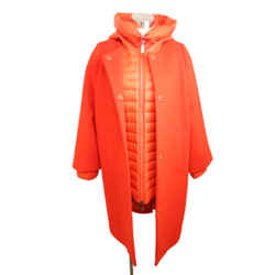 Escada Red Wool Removable Nylon Puffer Coat Sz 6