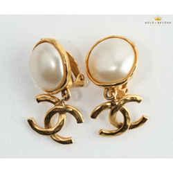 Chanel CC Faux Pearl Push On Earrings
