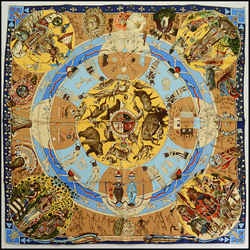 Rdc10478 Authentic Hermes Multicolor Les Mythologies Silk Scarf By Kermit Oliver