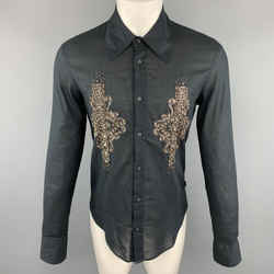 Just Cavalli Size M Embellishment Black Cotton Button Up Wide Pointed Collar Long Sleeve Shirt