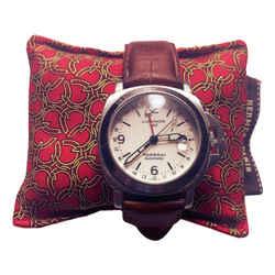 HERMES Vintage Red Horseshoe Cravatte Cedar Watch Pillow