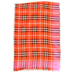 Burberry Scarf Orange Pink Vintage Check