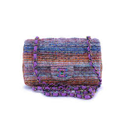 Nib 20c Chanel Purple Tweed Rectangular Classic Mini Flap Bag Rainbow Iridescent Hw