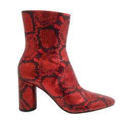 Balenciaga Red / Black Snake Effect Ankle Boots/booties