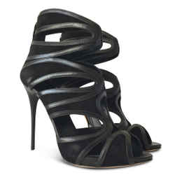 New Alexander Mcqueen Suede Cutout Sandals - Black - Size 40