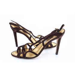 Manolo Blahnik Suede Slingback Sandals Brown Size 7.5 Authenticity Guaranteed