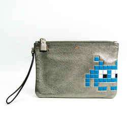 Anya Hindmarch Invader 926577 Women's Leather Clutch Bag Black,blue,sil Bf513441