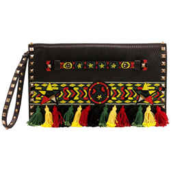 Valentino Rockstud Bead Jamaican Black/red/yellow/green Calfskin Leather Clutch