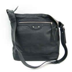 Balenciaga Day 272409 Leather Shoulder Bag Gray Navy Bf509000