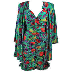EMANUEL UNGARO Silk Cocktail Dress with Coat Size 8