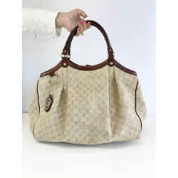 Gucci Brown & Rock Canvas Large Sukey Tote (W/ Dust Bag)
