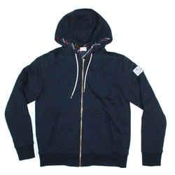 Moncler Gamme Bleu Down Reversible Jacket Hooded Blue Red Stripe Coat - Large L