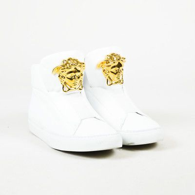 Versace White Leather Embellished