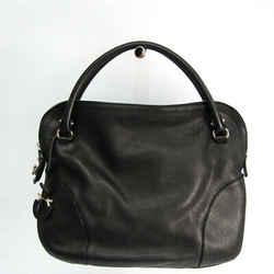 Salvatore Ferragamo Gancini AB-21 B936 Women's Leather Handbag Black BF519744