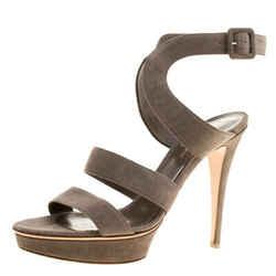 Gianvito Rossi Grey Suede Platform Sandals Size 40