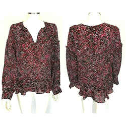 $248 Parker Blouse Long Sleeve Ruffle Black Pink Scatters Top Shirt Size Large