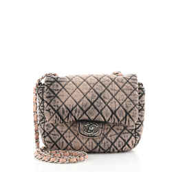 CC Chain Flap Bag Quilted Distressed Denim Small