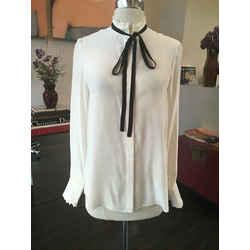 Frame Size Xs White Silk Blouse Black Ribbon Tie - 2291-1-71319