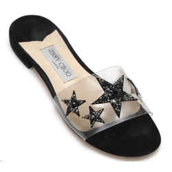 JIMMY CHOO Sandal Slide Flat JONI Plexi Black Crystals Leather Sz 38.5