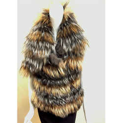 Roberto Cavalli New With Tags Silver & Arctic Fox Fur B&w Tweed Back Braided Leather Vest Size: It40 / Us4/6