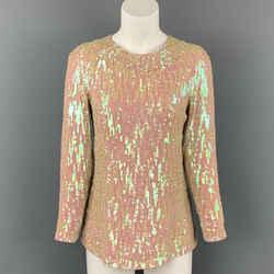DRIES VAN NOTEN Size 8 Iridescent & Nude Sequin Silk Dress Top