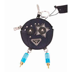 NEW $470 PRADA Blue Saffiano ROBOT POCKET Leather METAL Key Chain Trick BAG CHARM