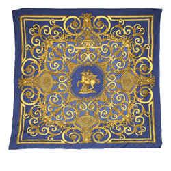 Vintage Authentic Hermes Blue Silk Fabric Les Tuileries Plisse Scarf France