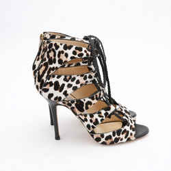 Leopard Lace Up Heels, Size 38.5