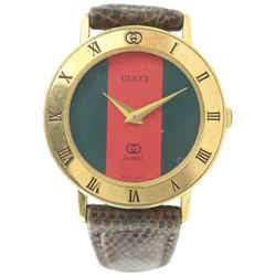 Gucci 3001 L Gold Plated Sherry Web  Watch 750ggs325