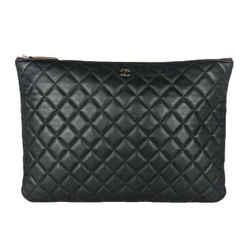 Chanel O Case Pouch Large Black Lambskin Clutch