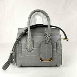 $1990 Alexander Mcqueen Gray Croc-embossed Leather Mini Heroine 21 Bag 479878