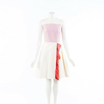 Prada Dress Color Block Flared Silk SZ 40