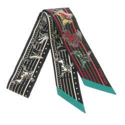 Black Hermes Pani La Shar Pawnee Twilly Silk Scarf