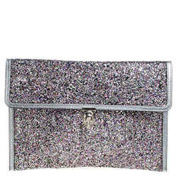 Alexander McQueen Multicolor Glitter and Leather Flap Clutch