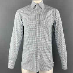 Tom Ford Size M White & Green Checkered Cotton Button Up Long Sleeve Shirt