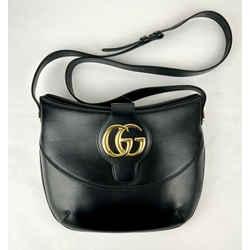 Gucci Arli Black Leather Shoulder Bag With Gold Interlocking G Logo 568857