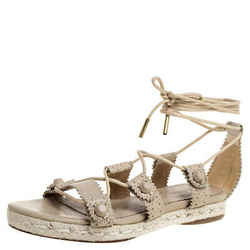Balenciaga Beige Leather Espadrille Ankle Wrap Flat Sandals Size 36