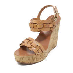 Tory Burch Tan Braided Leather Cork Wedges 38.5