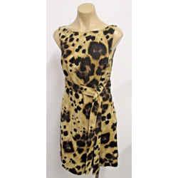 Red Valentino Lightweight Wool Animal Print Sleeveless Dress W/ Self Belt - 42