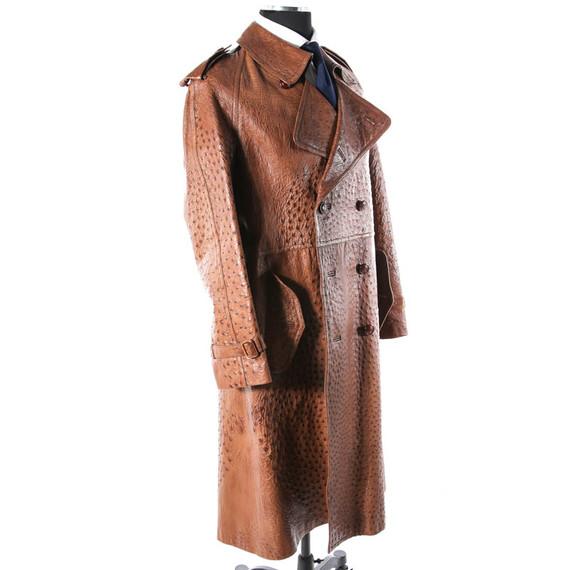 Vintage 1970s Gucci Genuine Ostrich Brown Coat