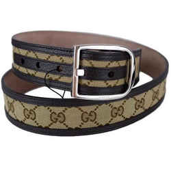 Gucci GG Belt Canvas Brown Leather Unisex 449716 Size 38 - 95