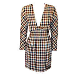 CHRISTIAN LACROIX 2 pc Houndstooth Wool Skirt Suit
