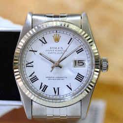 Rolex Mens Datejust White Buckley Dial 36mm Watch