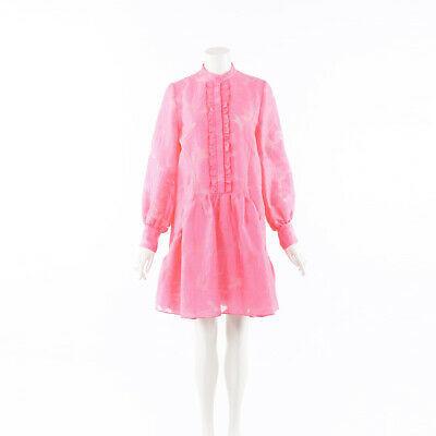 Erdem Quentin Pink Fil Coupe Ruffled Dress SZ 6 UK