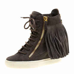 Giuseppe Zanotti Grey Suede Lorenz Fringe Wedge Sneakers Size 37