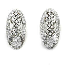 Oval Openwork Diamond Earrings in 18k White Gold ( 2.50 ct tw )
