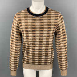 DRIES VAN NOTEN Size L Brown Knitted Cotton / Wool Crew-Neck Sweater
