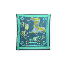 Authentic Hermes 100% Silk Scarf Tout en Carre Barret Green Horse Carriage 90cm