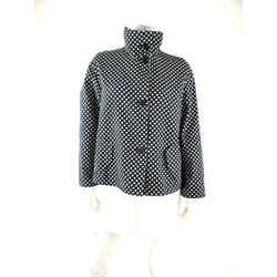 Authentic Akris Punto Polka Dot Black Cream Reversible Collared Jacket 8