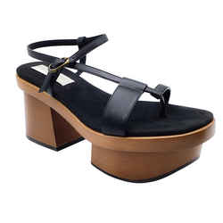 Stella McCartney Black Faux Leather and Wooden Platforms